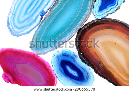 agates slices isolated on the white background - stock photo