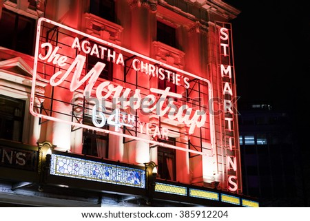 Agatha Christie The Mousetrap - legendary Musical LONDON, ENGLAND - FEBRUARY 22, 2016