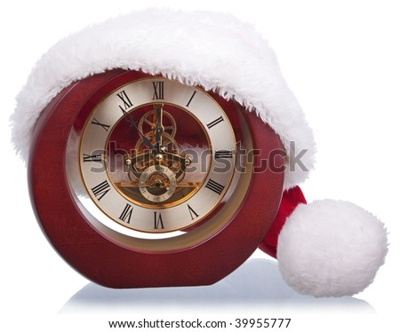 age-old mechanical clock isolated on a white background - stock photo