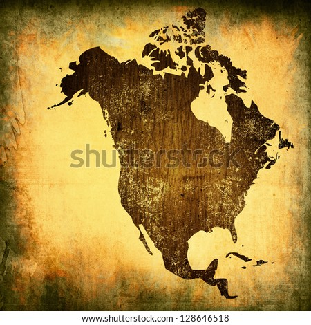aged America map vintage artwork for your design - stock photo