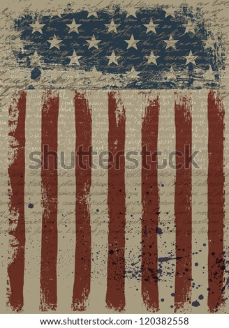 Aged American Patriotic Background. Raster version, vector file available in portfolio. - stock photo