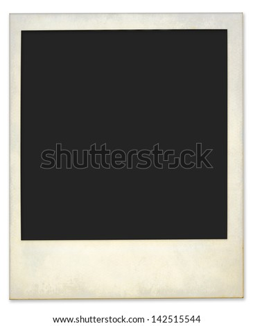 Aged and dirty instant photo frame, isolated - stock photo