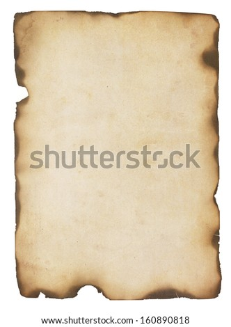 Aged and stained paper with fire damaged and burned edges. Isolated on white. - stock photo