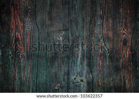 Aged and weathered green timber door