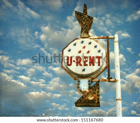 aged and worn photo of vintage sign                              - stock photo