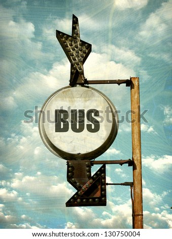 aged and worn vintage photo of bus sign - stock photo