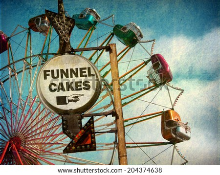 aged and worn vintage photo of funnel cakes sign at carnival                            - stock photo