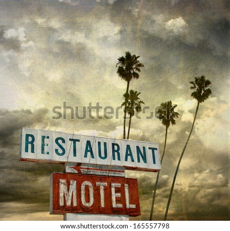 aged and worn vintage photo of retro neon sign with palm trees - stock photo