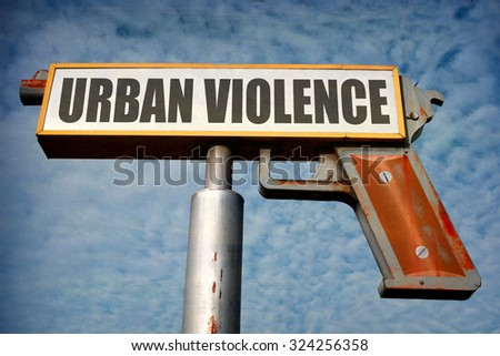 aged and worn vintage photo of urban violence gun sign                               - stock photo