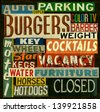 Aged and worn vintage sign collection - stock photo