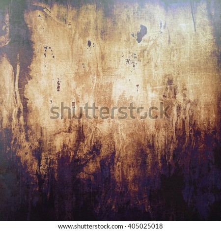 Aged background or texture. Vintage graphic composition with grunge style elements and different color patterns: yellow (beige); brown; purple (violet); black; gray