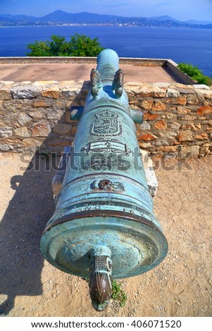 Aged barrel of a canon defending the fortress of Saint Tropez, French Riviera, France - stock photo