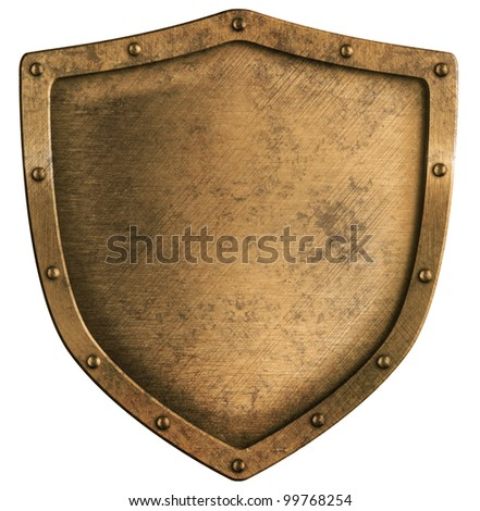 aged brass or bronze metal shield isolated on white - stock photo
