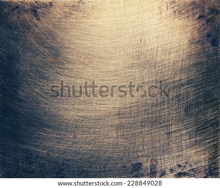Aged brass plate texture, old metal background. - stock photo