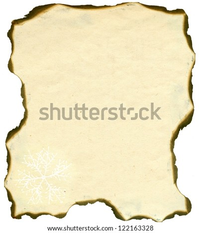 aged burnt paper on white background