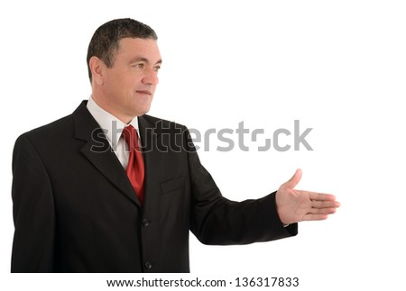 Aged businessman making various gestures isolated on white background