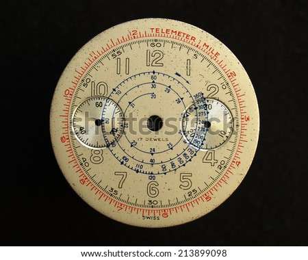 aged chronograph watch dial with telemeter scale no hands
