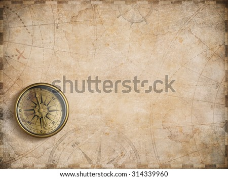 aged compass and nautical treasure map illustration background - stock photo