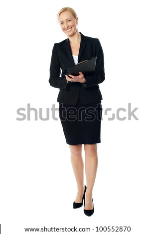 Aged female executive holding business file isolated over white - stock photo