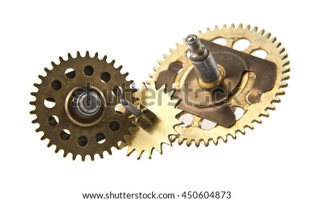aged gear from a clock isolated on white background