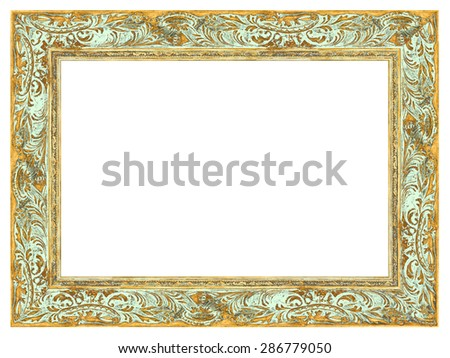 Aged Golden frame with light green patina Izolated on white background.