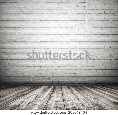 Aged grungy white background texture from brick and stone wall with dark wooden floor, light facade inside old modern and contemporary empty interior, blank color horizontal space of clean studio room - stock photo