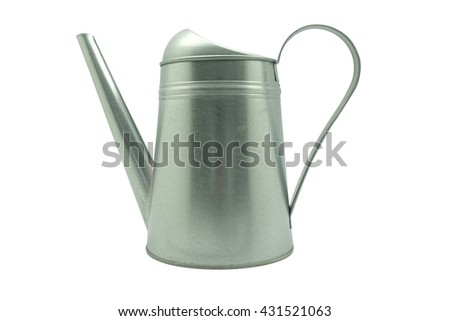 Aged metallic watering can isolated on white .Clipping path