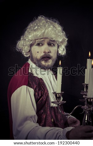 aged, nineteenth century man, , chandelier with candles - stock photo