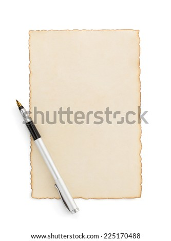 aged paper parchment isolated on white background - stock photo