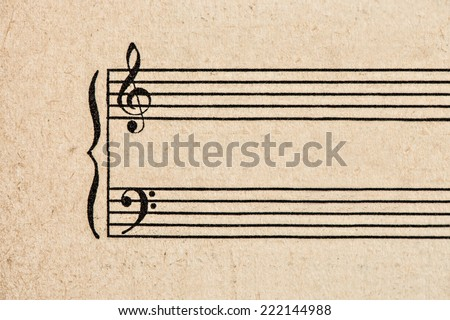 aged paper sheet for musical notes. grungy textured background - stock photo
