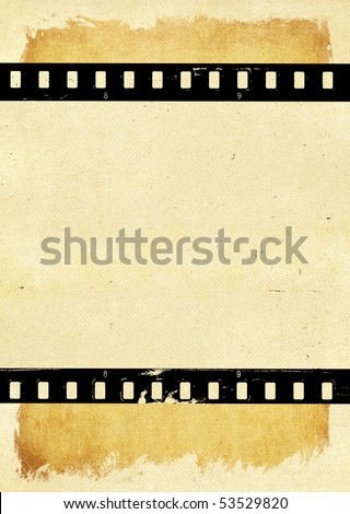 Aged paper with film strip - stock photo