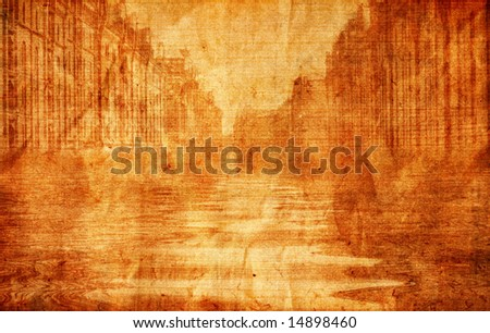 Aged paper with flooded city - stock photo