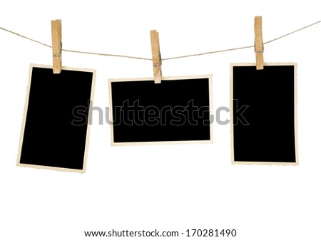 aged photo frames,isolated, free space for your pictures - stock photo