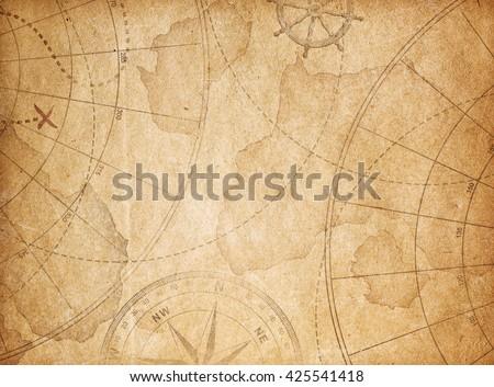 aged pirates treasure map background - stock photo
