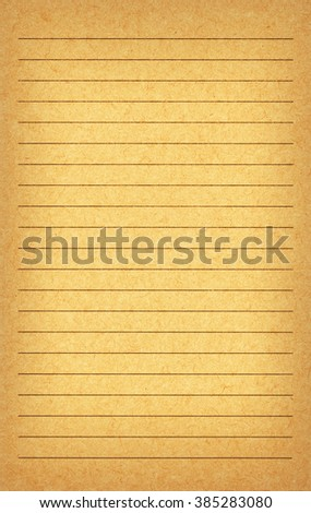 Aged recycled yellow paper, lined, highly detailed texture, vintage look - stock photo