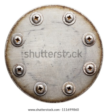 Aged round metal plate texture, background - stock photo