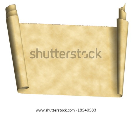 aged scroll grunge paper background with ragged ends isolated on white