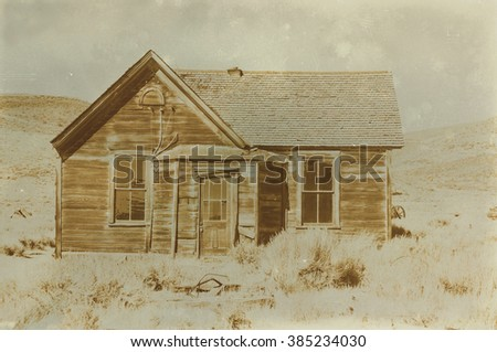 Aged sepia digital grunge distressed effect Bodie State Historic Park. - stock photo