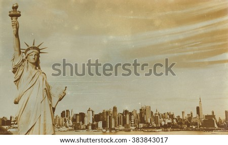 Aged sepia digital grunge distressed effect New York.