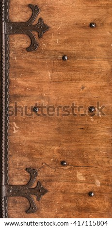 Aged shutters door board with iron decorated hinges and bolts. & Antique Door Stock Photo 114600100 - Shutterstock Pezcame.Com