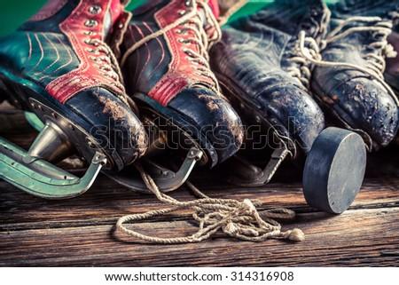 Aged skates - stock photo