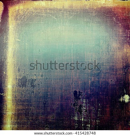 Aged textured background, macro closeup with different color patterns: yellow (beige); brown; blue; purple (violet); black; pink - stock photo