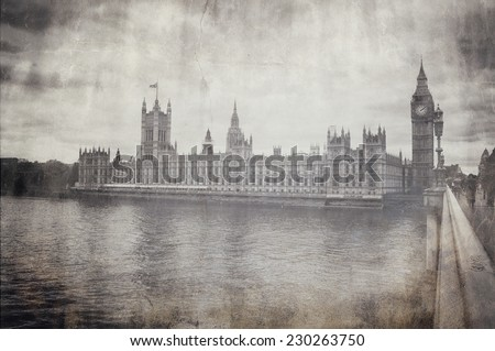Aged vintage greyscale image of Houses of Parliament and Big Ben in London viewed from across the River Thames - stock photo