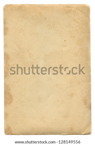 Aged vintage paper isolated on white.