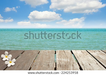 Aged wooden bridge, in front of the sea - stock photo