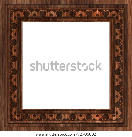 aged wooden photo frame - stock photo