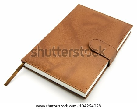 Agenda brown leather closed - stock photo