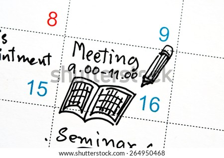 agenda in time planner or calendar - stock photo