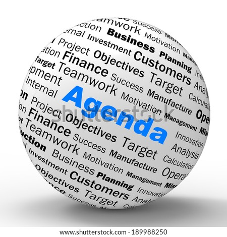 Agenda Sphere Definition Meaning Schedule Planner Arrangement Or Reminder - stock photo