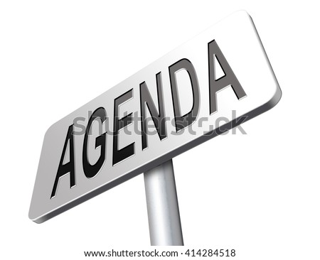 agenda timetable and business schedule organizing and planning time use for meetings and organize organization, road sign billboard.